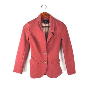 H&M 2 jacket blazer button front career red knit